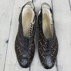 PIKOLINOS   woven leather stitch slingback shoes